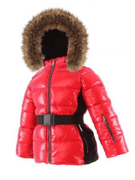 Zimowa kurtka sportowa z paskiem ocieplana...